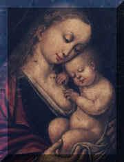"""Tavola dipinta """"Madonna col Bambino dormiente"""""""
